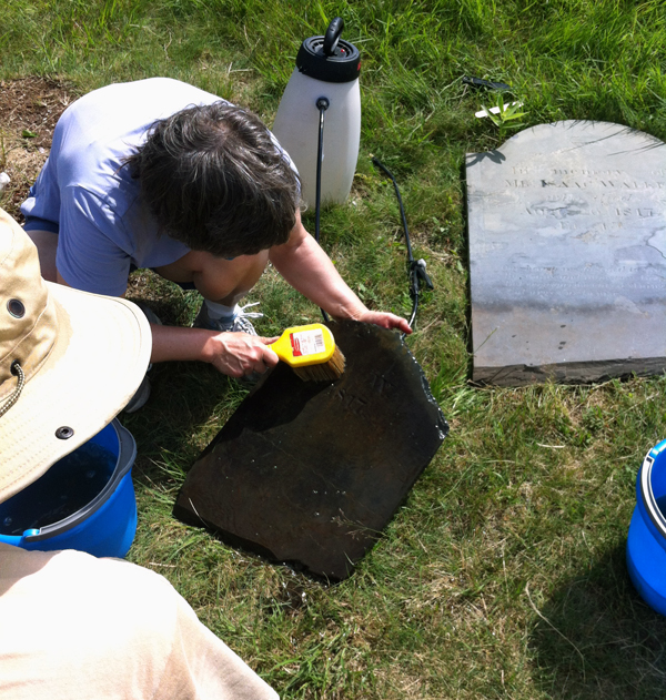 cleaning a footstone