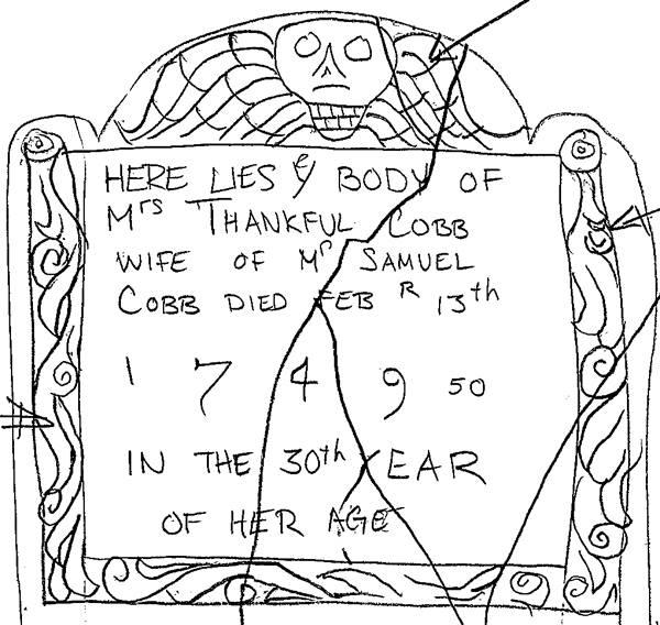 Sketch of Thankful Cobb's Stone