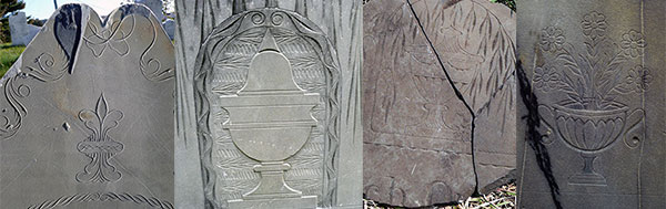 Decorative Headstone Carvings by Bartlett Adams