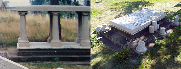 Webster Tomb Before vs. Now Decrepit