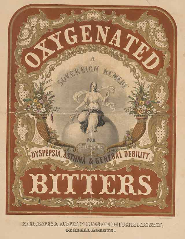 label for bitters, 1851