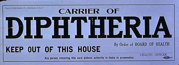 Carrier of Diptheria Keep Out of This House by Order of Board of Health poster