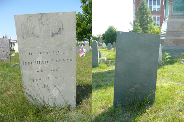 front and back of headstone