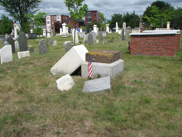 Henry Wadsworth monument fallen