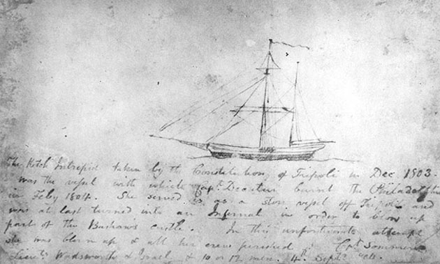The Intrepid sketch by midshipman William Lewis